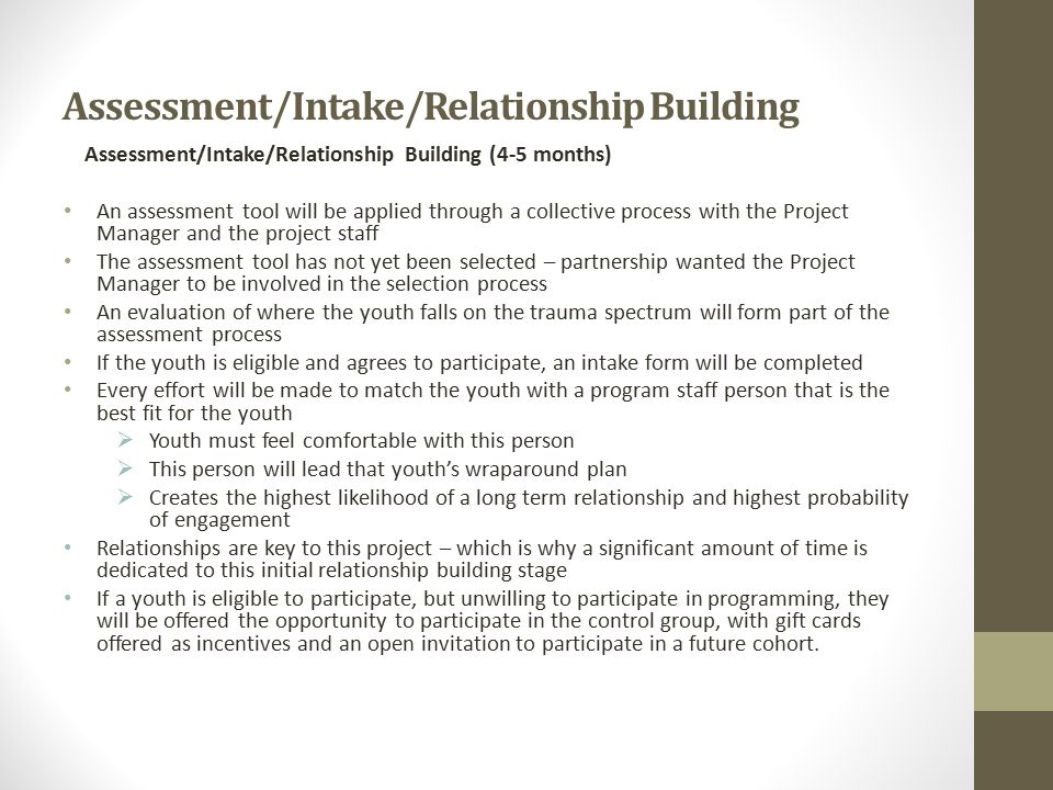 Assessment/Intake/Relationship Building