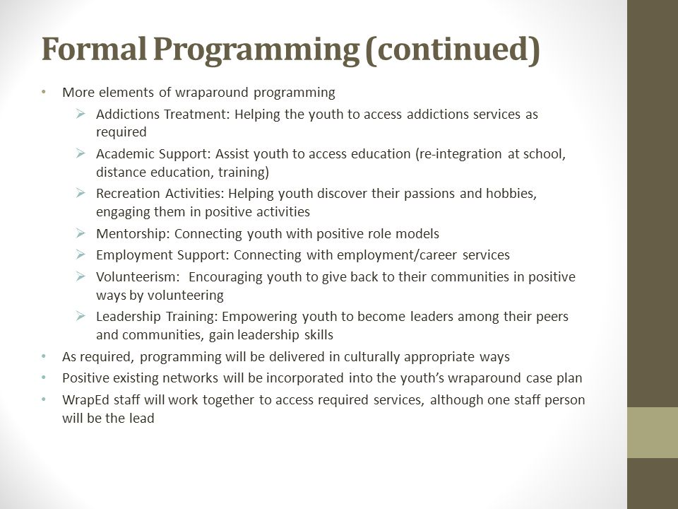 Formal Programming (continued)