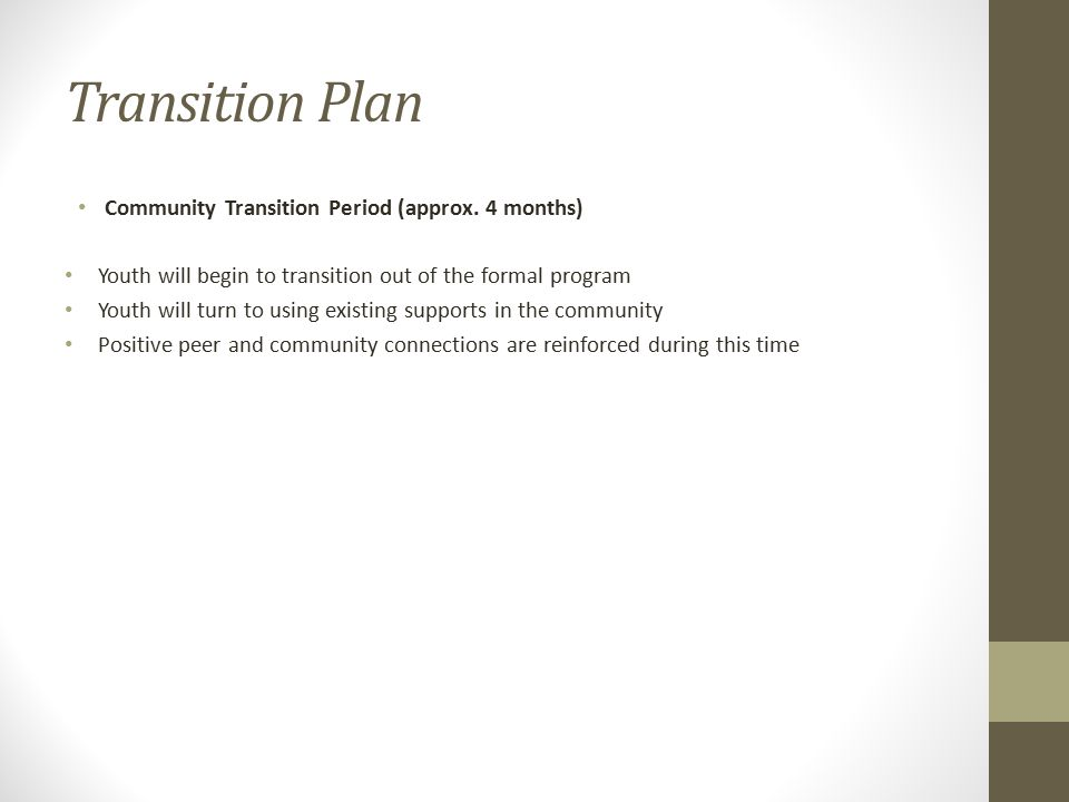 Transition Plan Community Transition Period (approx. 4 months)