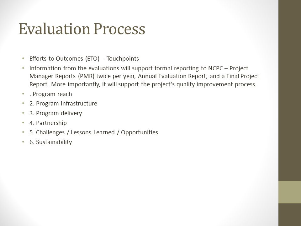 Evaluation Process Efforts to Outcomes (ETO) - Touchpoints
