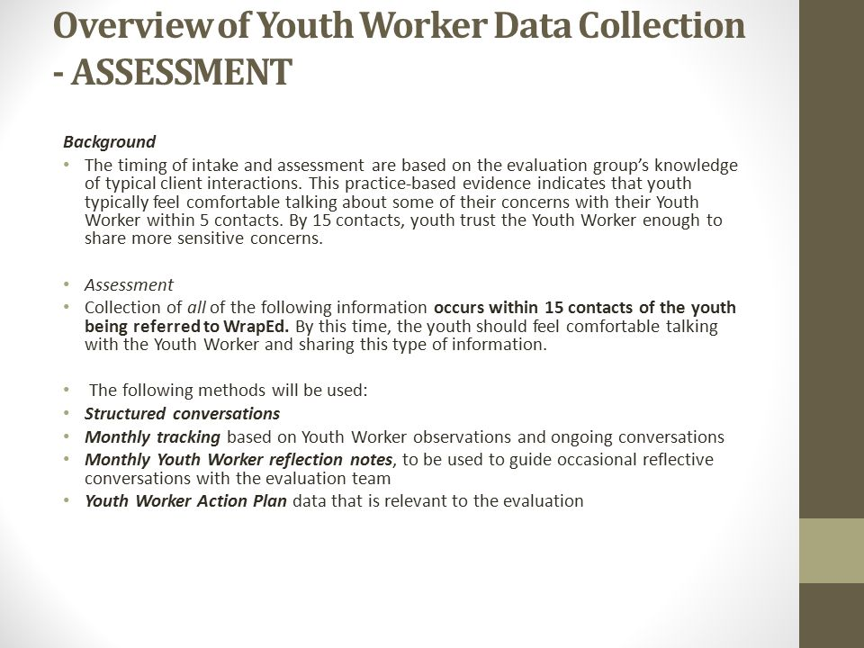 Overview of Youth Worker Data Collection - ASSESSMENT
