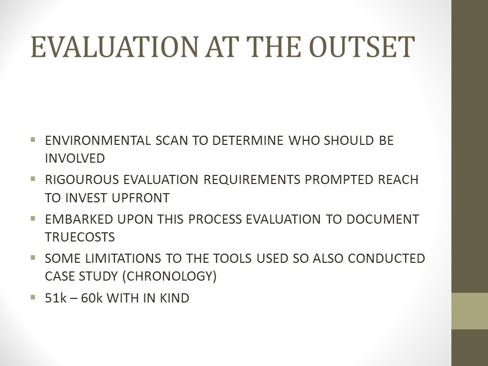 EVALUATION AT THE OUTSET