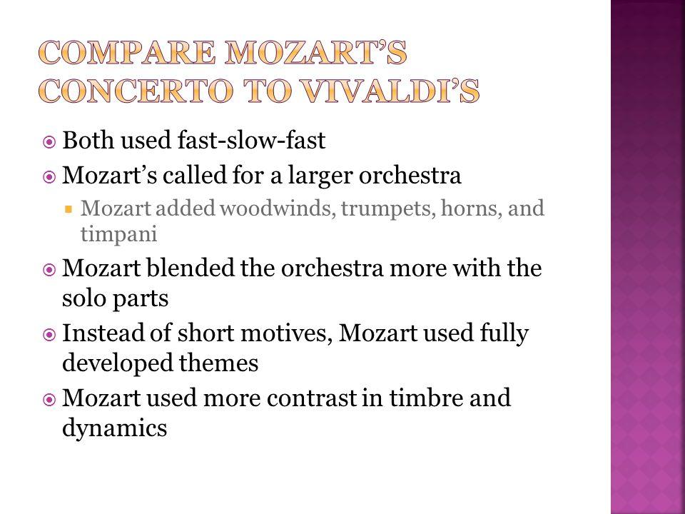 Compare Mozart's Concerto to vivaldi's