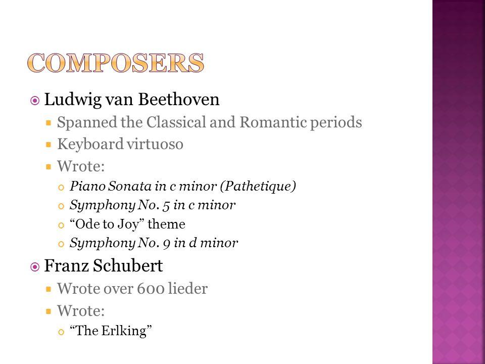 Composers Ludwig van Beethoven Franz Schubert