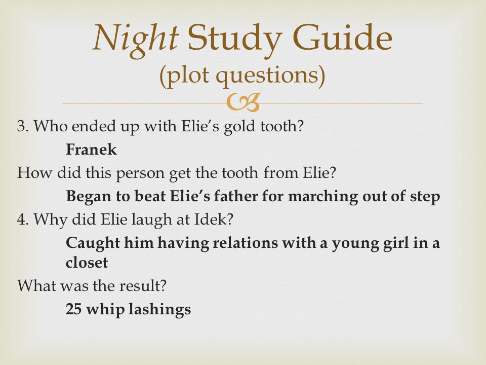 Night Study Guide (plot questions)
