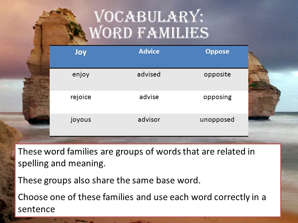Vocabulary: Word Families