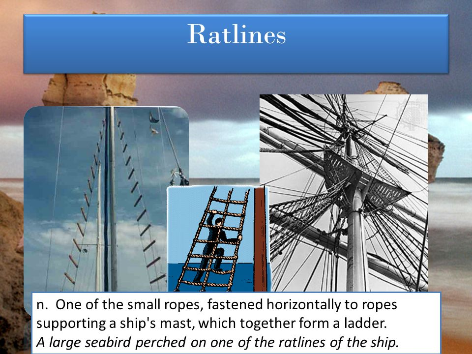 Ratlines n. One of the small ropes, fastened horizontally to ropes supporting a ship s mast, which together form a ladder.