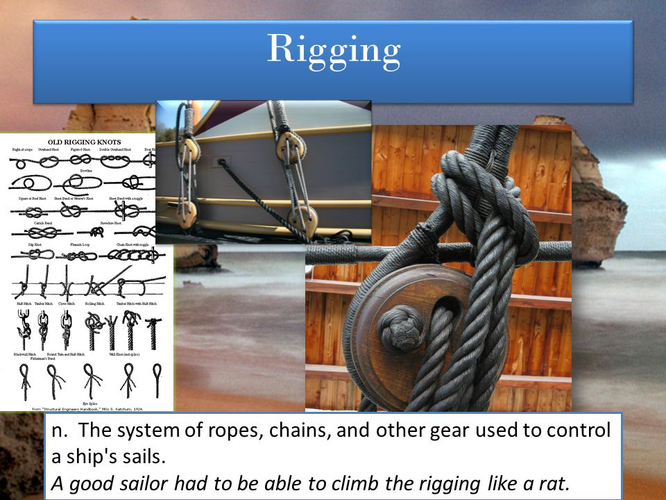 Rigging n. The system of ropes, chains, and other gear used to control a ship s sails.