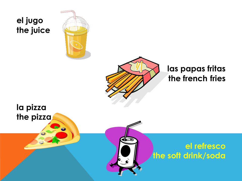 el jugo the juice. las papas fritas. the french fries.