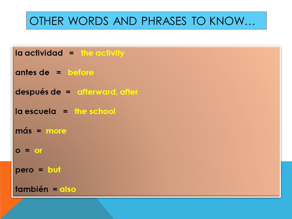 Other words and phrases to know…