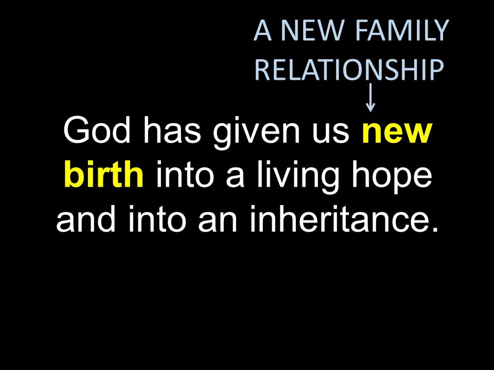 God has given us new birth into a living hope and into an inheritance.