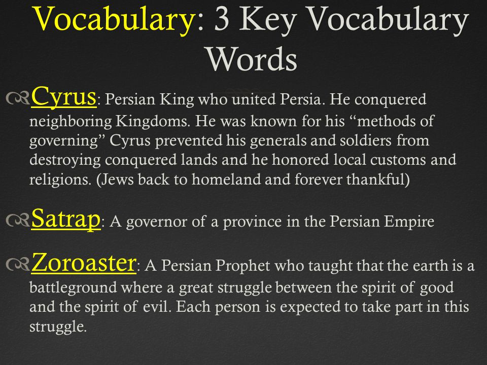 Vocabulary: 3 Key Vocabulary Words