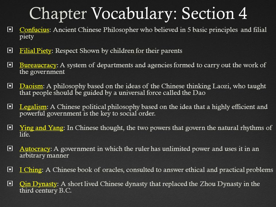 Chapter Vocabulary: Section 4