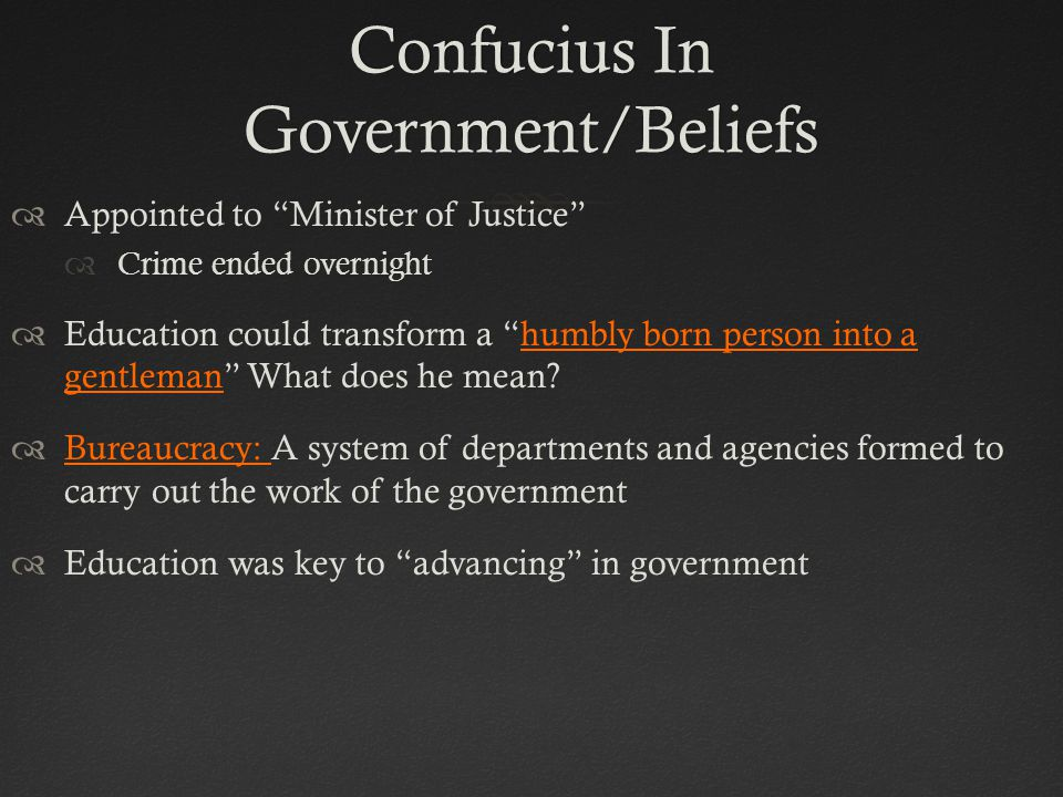 Confucius In Government/Beliefs