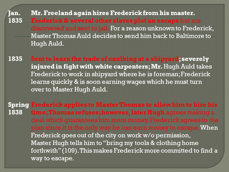 Jan. Mr. Freeland again hires Frederick from his master.
