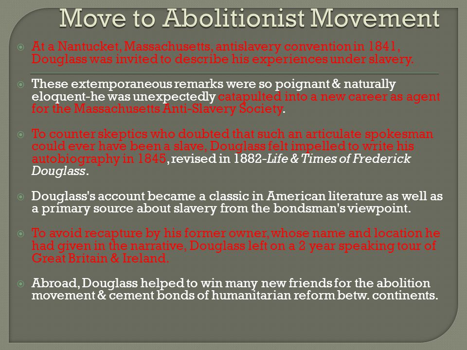 Move to Abolitionist Movement