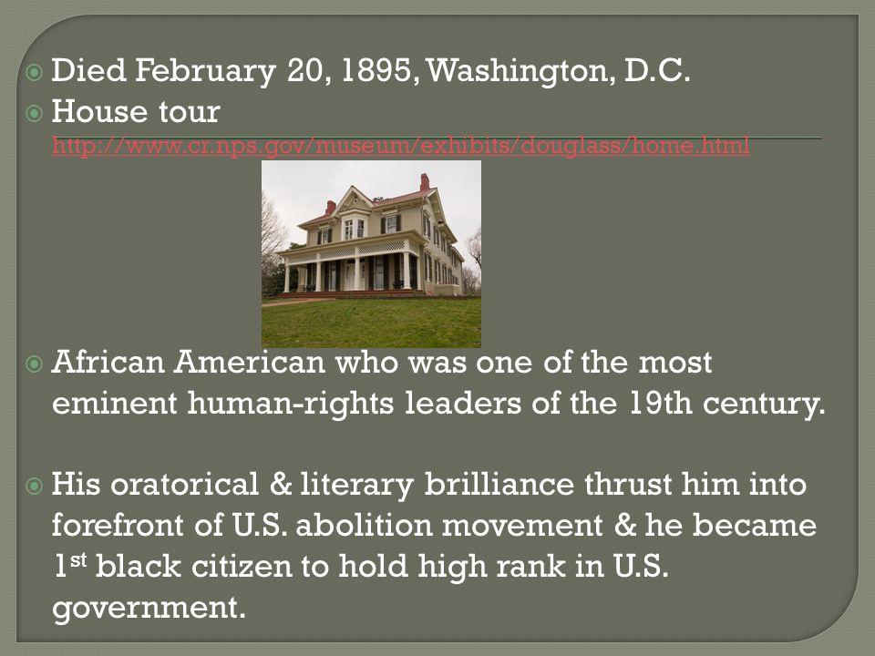 Died February 20, 1895, Washington, D.C.