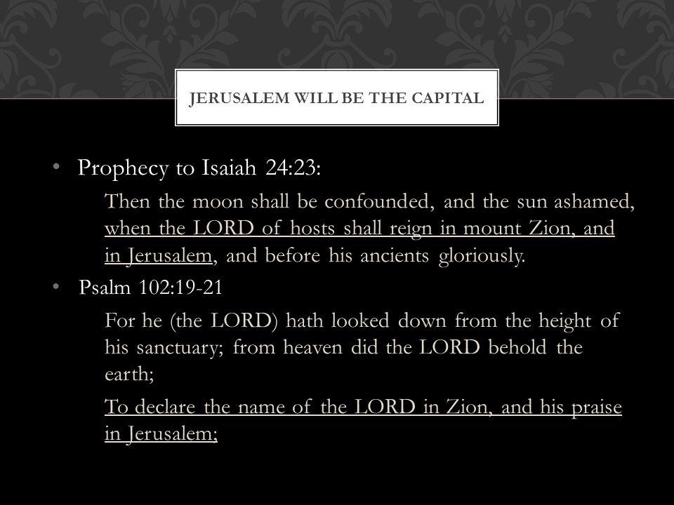Jerusalem will be the Capital