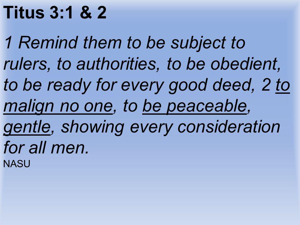 Titus 3:1 & 2