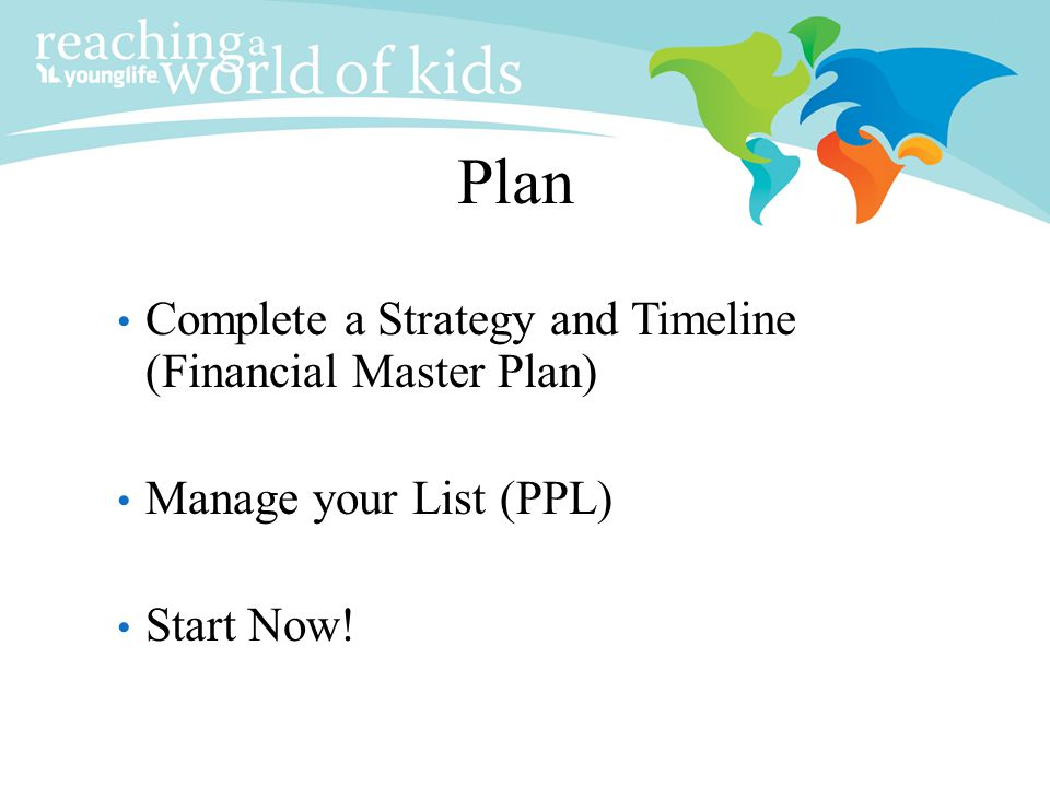 Plan Complete a Strategy and Timeline (Financial Master Plan)