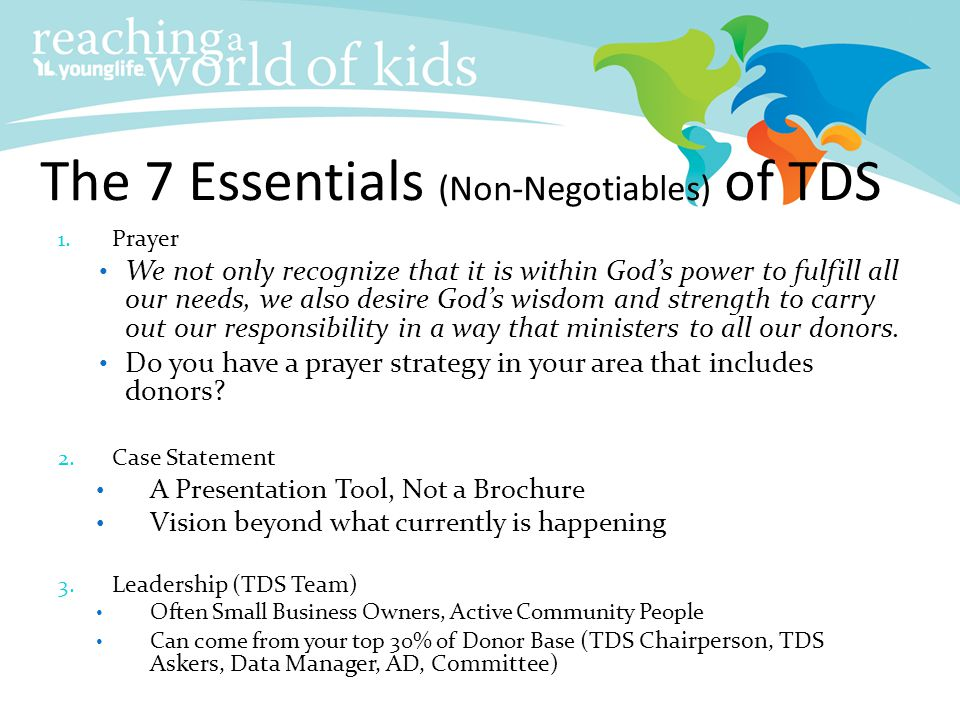 The 7 Essentials (Non-Negotiables) of TDS