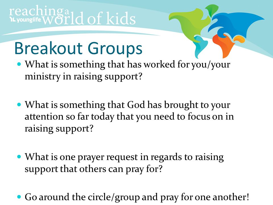 Breakout Groups What is something that has worked for you/your ministry in raising support