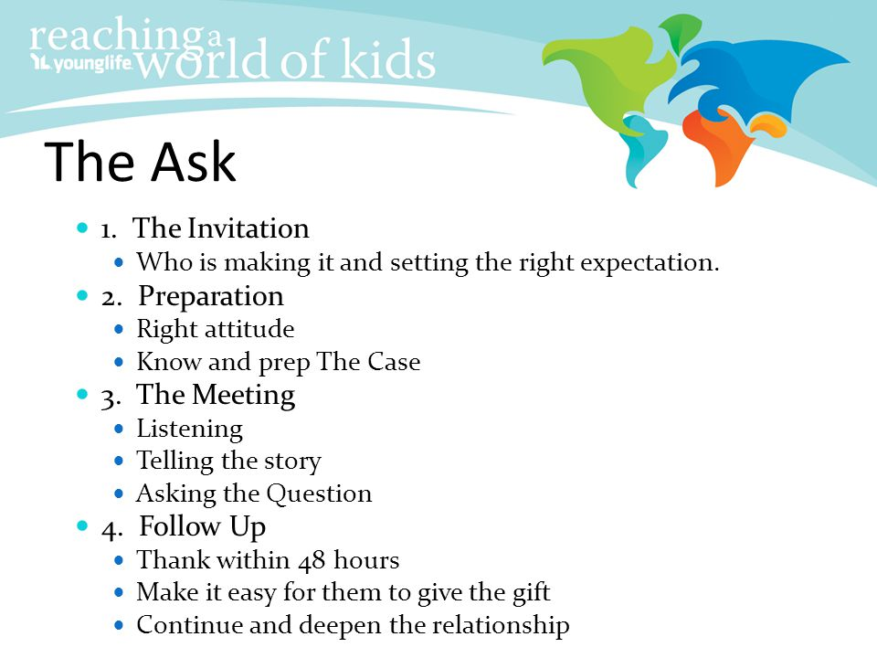 The Ask 1. The Invitation 2. Preparation 3. The Meeting 4. Follow Up