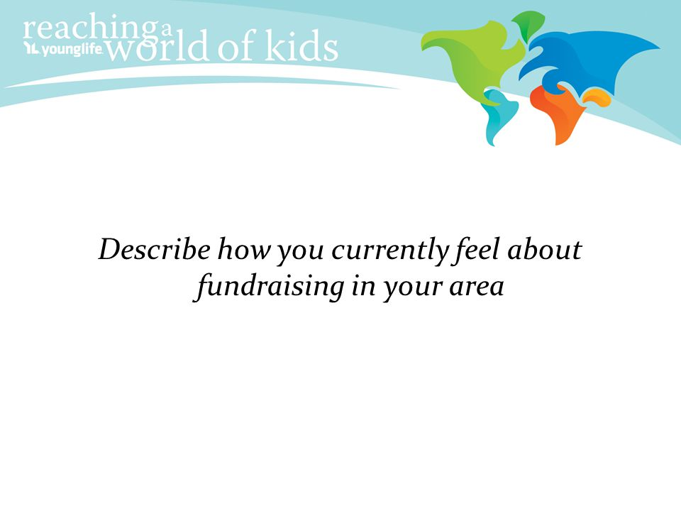 Describe how you currently feel about fundraising in your area