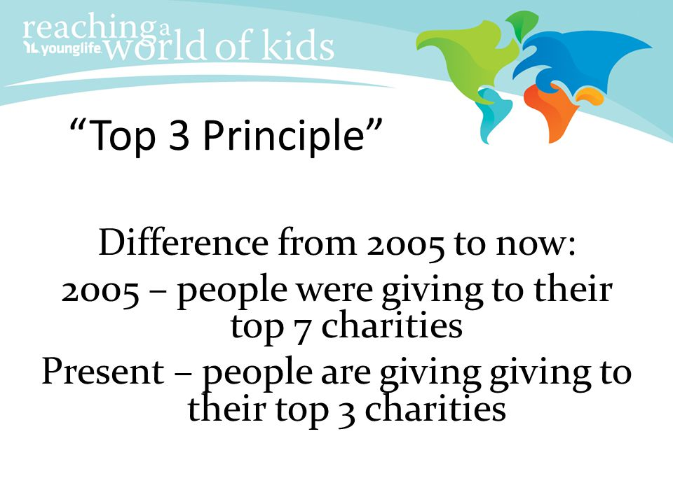 Top 3 Principle Difference from 2005 to now: