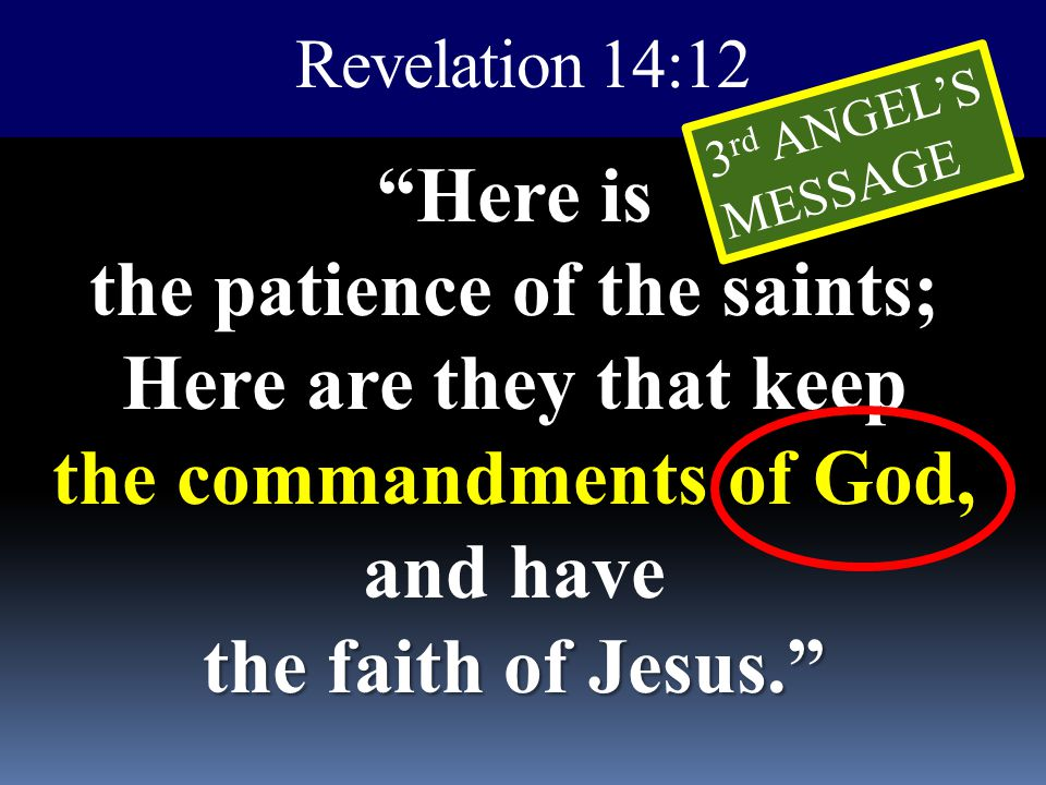 Revelation 14:12 3rd ANGEL'S. MESSAGE.