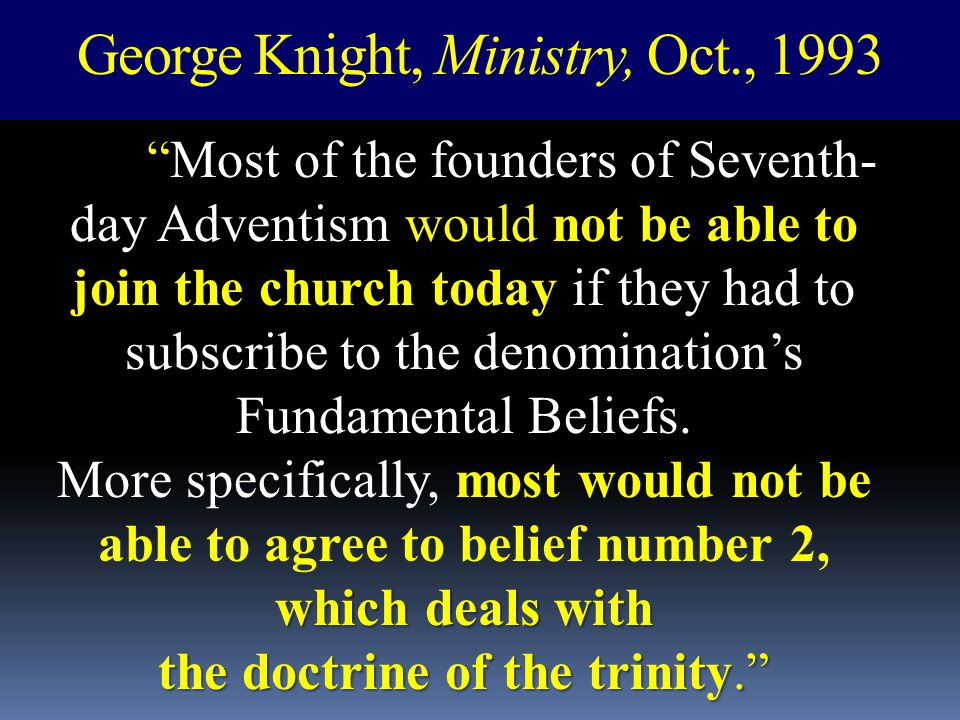 George Knight, Ministry, Oct., 1993
