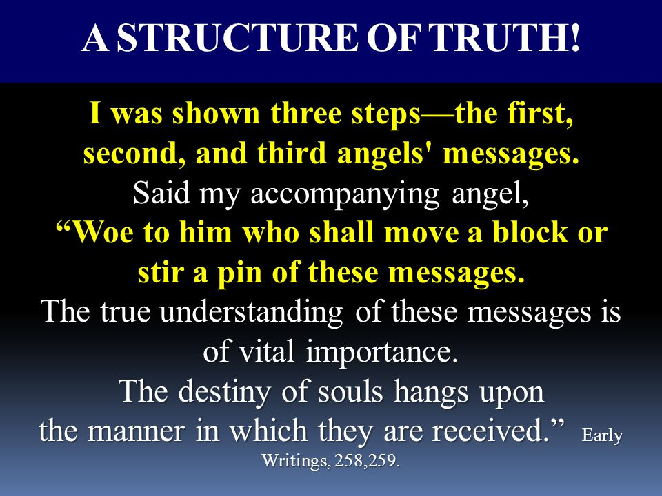 I was shown three steps—the first, second, and third angels messages.