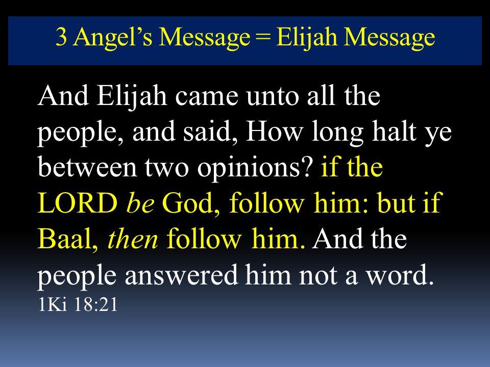 3 Angel's Message = Elijah Message