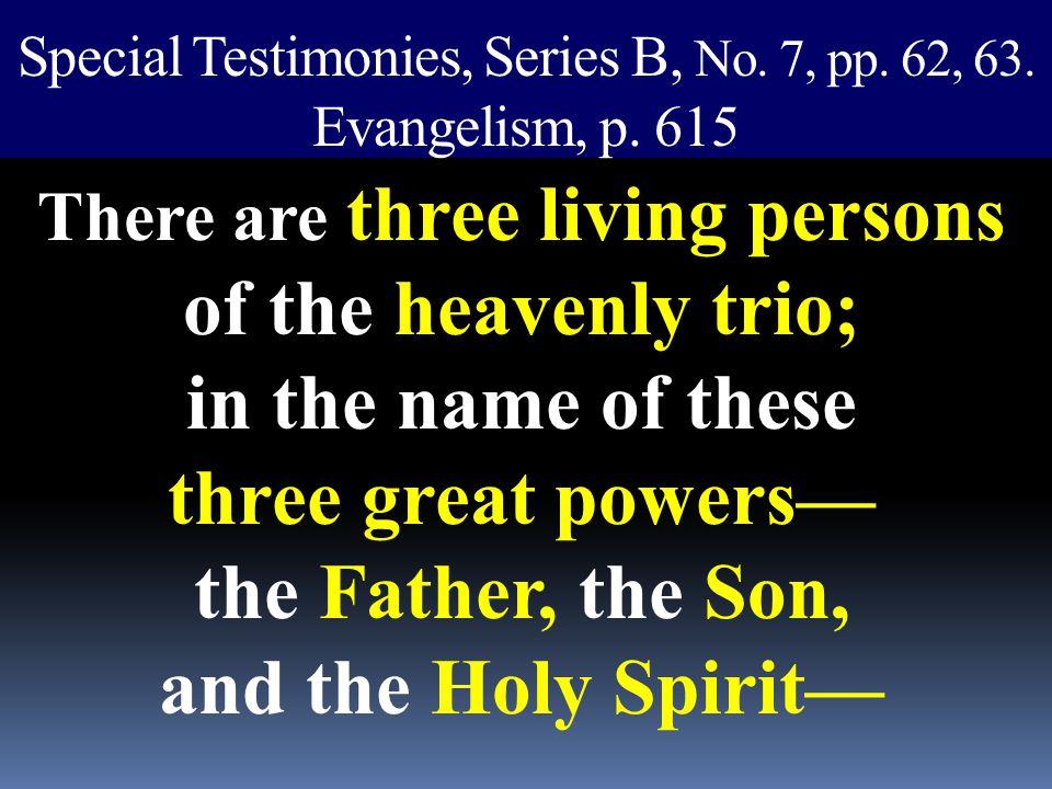 Special Testimonies, Series B, No. 7, pp. 62, 63. Evangelism, p. 615