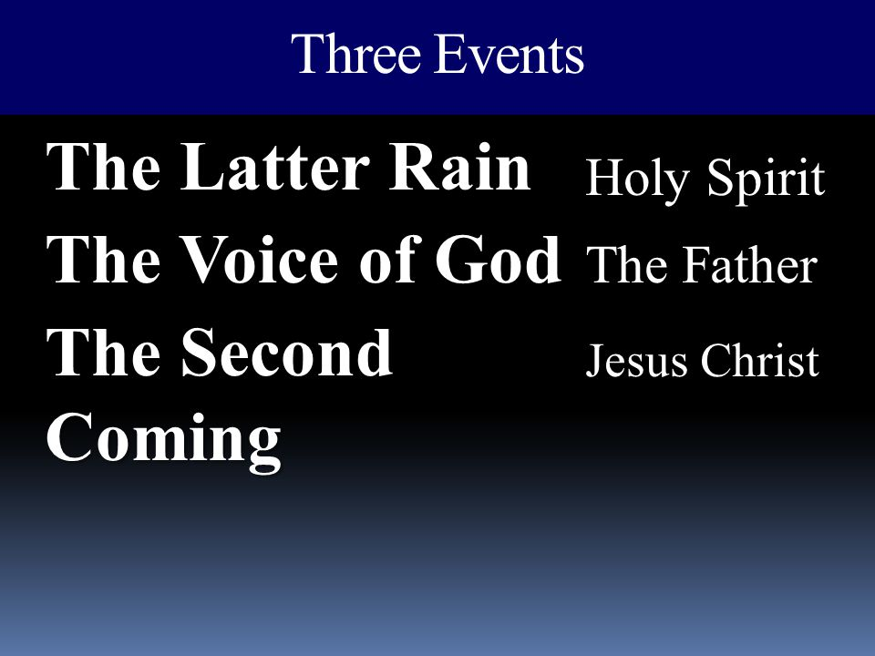 The Latter Rain The Voice of God The Second Coming