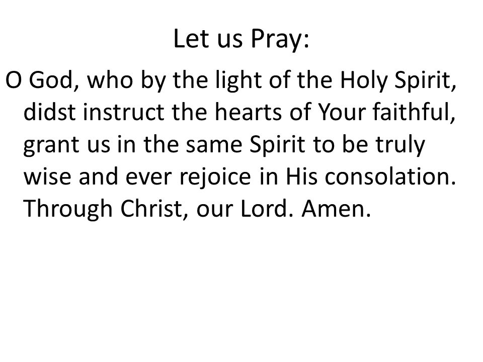 Let us Pray:
