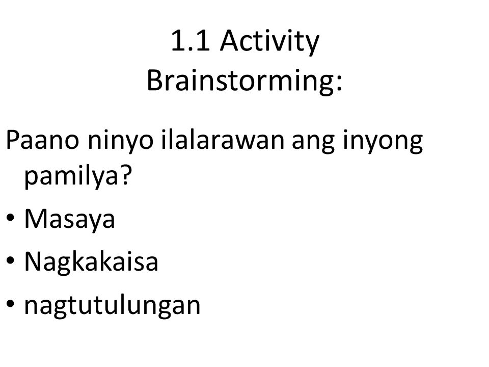 1.1 Activity Brainstorming: