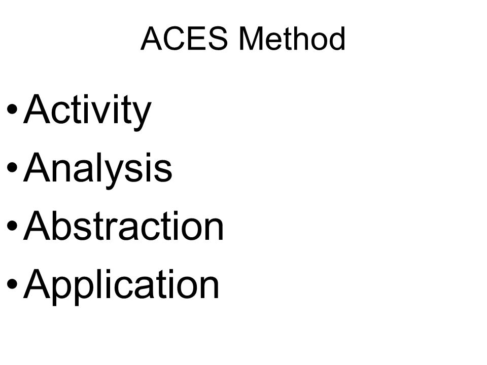 ACES Method Activity Analysis Abstraction Application