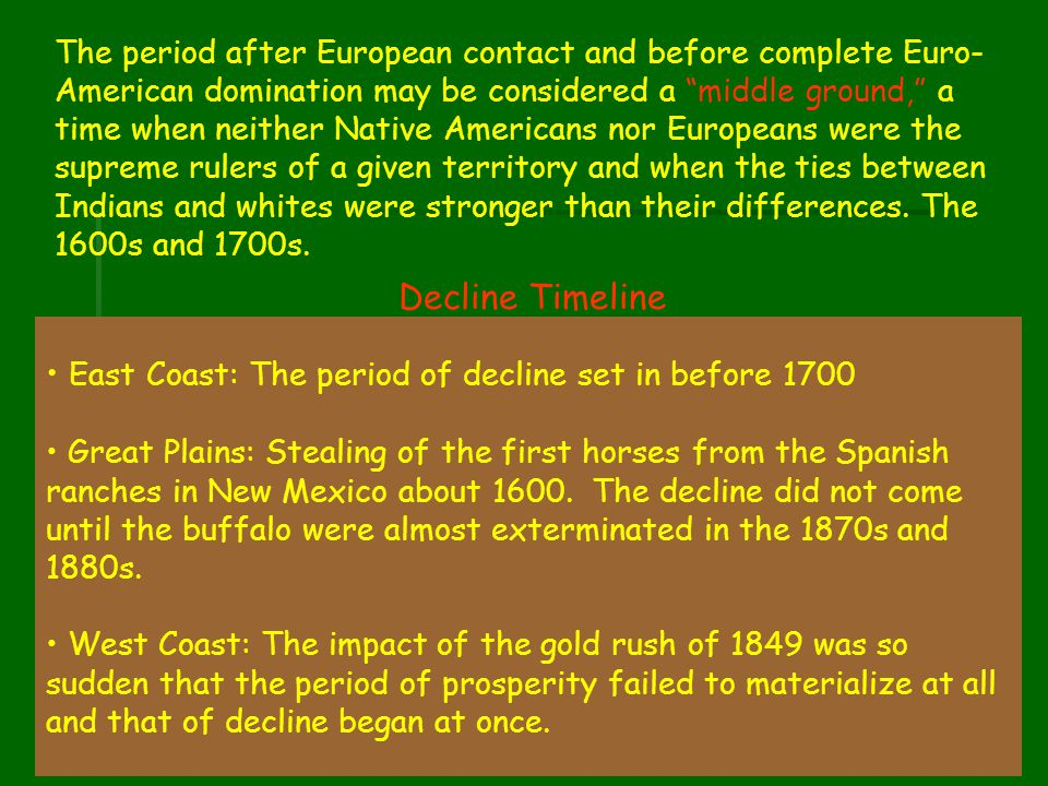 East Coast: The period of decline set in before 1700