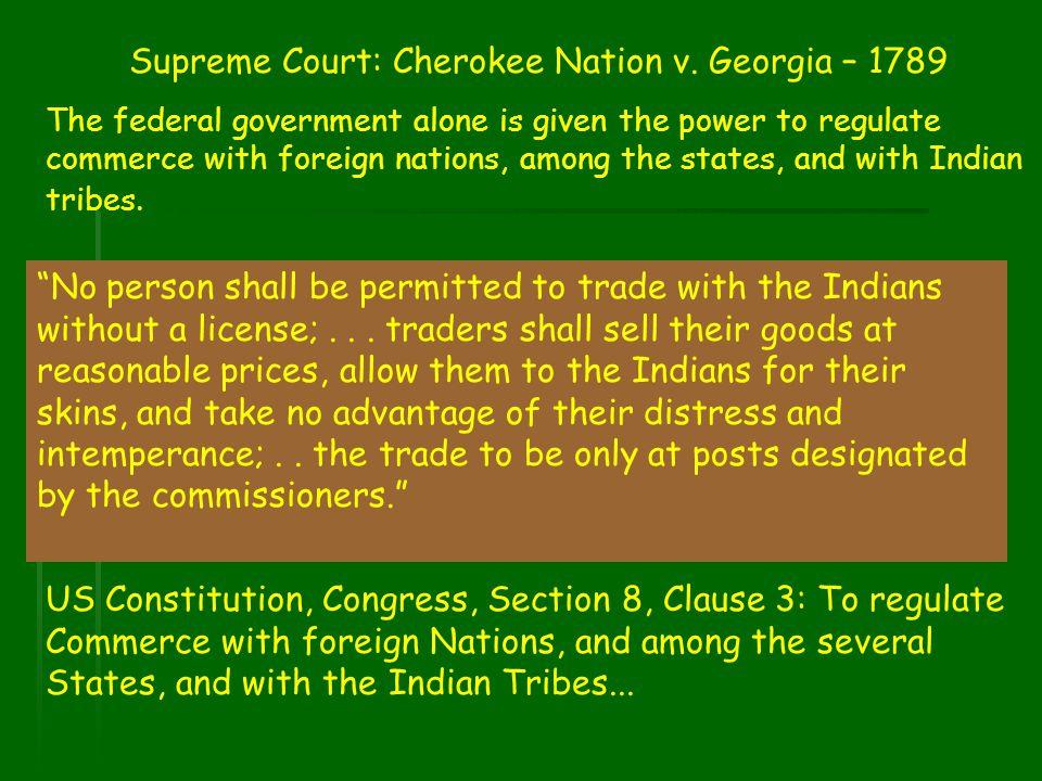 Supreme Court: Cherokee Nation v. Georgia – 1789