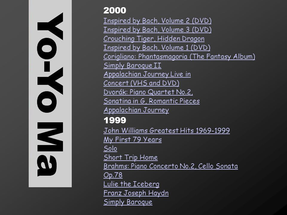 2000 1999 Inspired by Bach, Volume 2 (DVD)