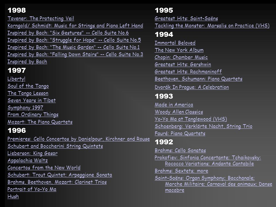 1998 1997 1996 1995 1994 1993 1992 Tavener: The Protecting Veil