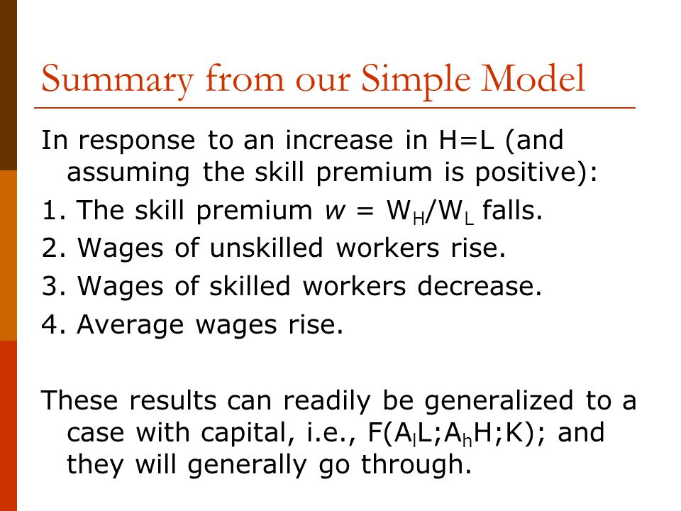 Summary from our Simple Model