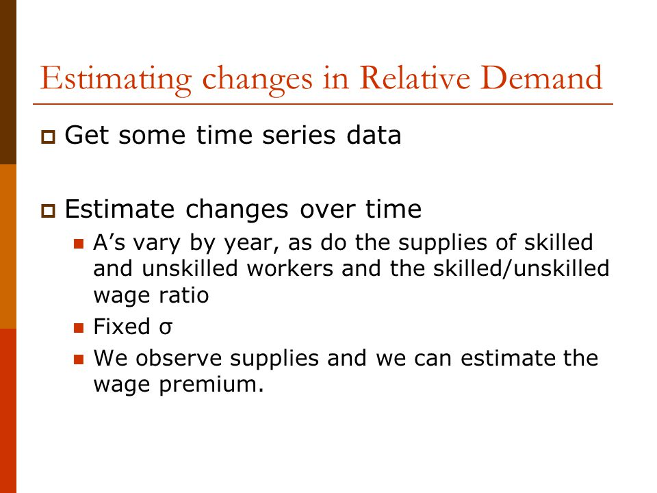 Estimating changes in Relative Demand