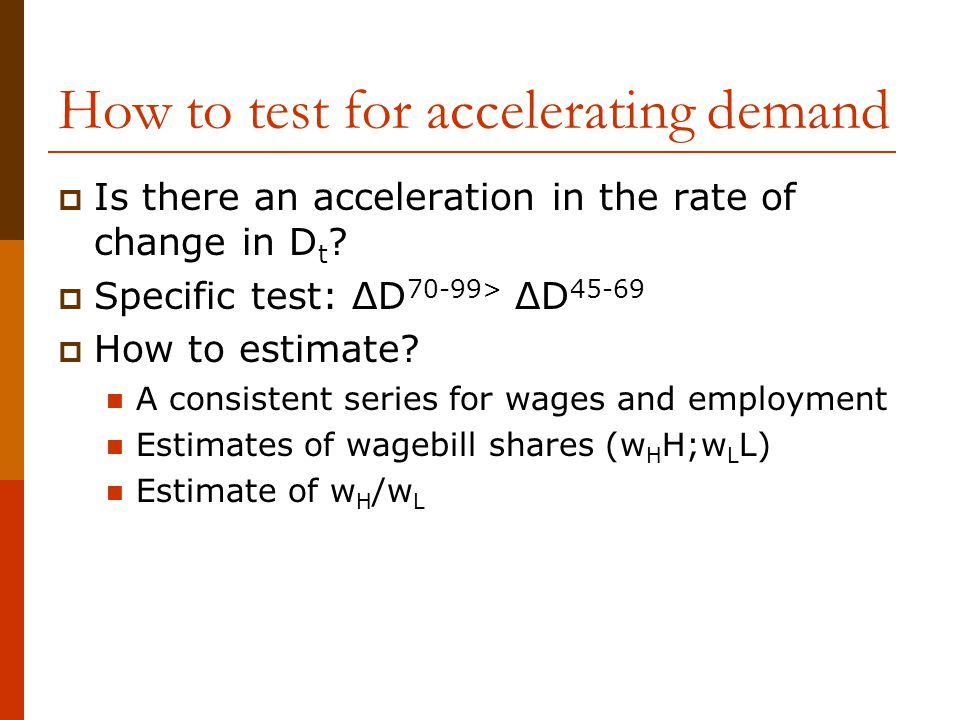 How to test for accelerating demand