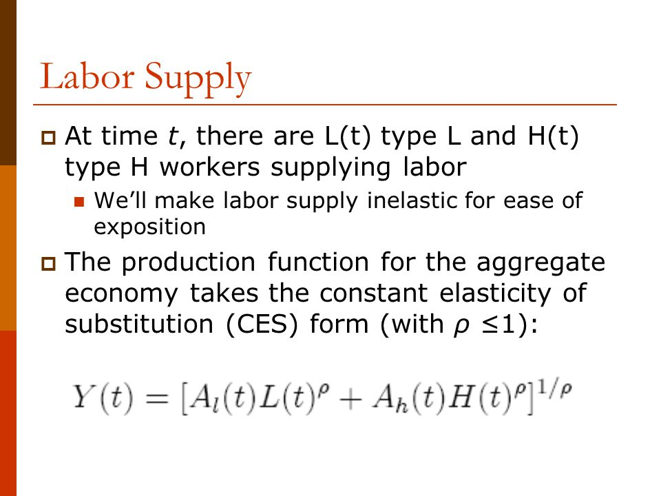 Labor Supply At time t, there are L(t) type L and H(t) type H workers supplying labor. We'll make labor supply inelastic for ease of exposition.