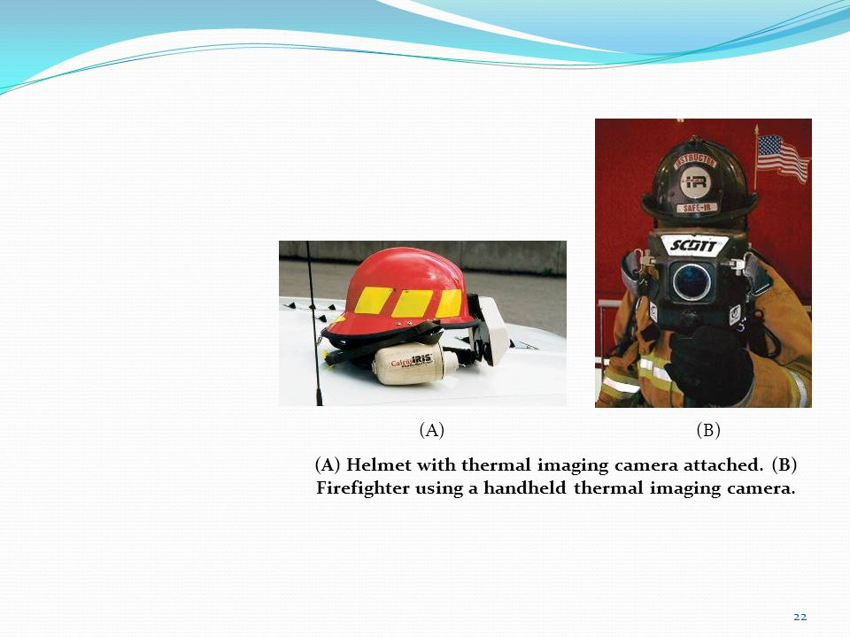 (A) (B) (A) Helmet with thermal imaging camera attached.