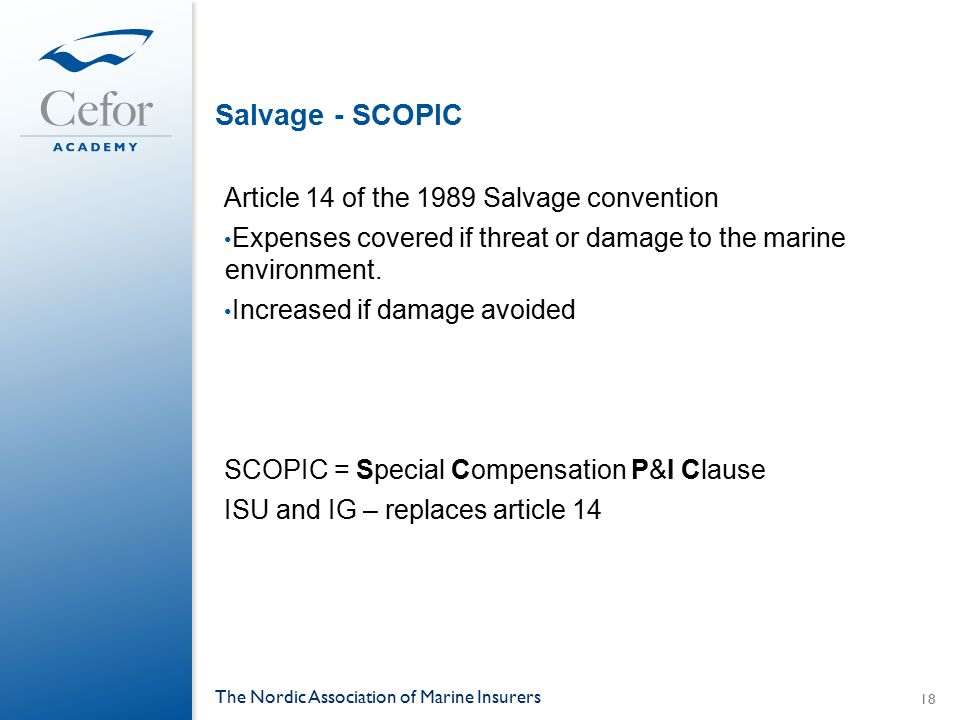 Salvage - SCOPIC Article 14 of the 1989 Salvage convention