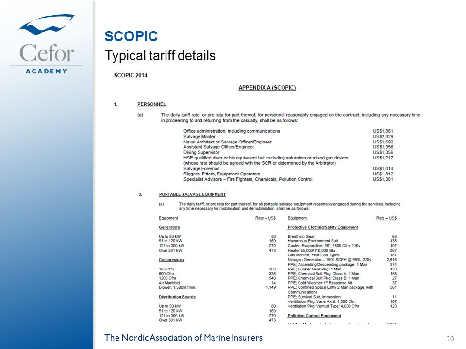 SCOPIC Typical tariff details