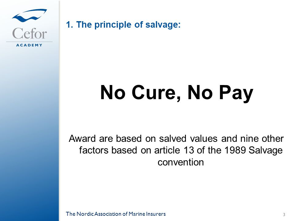 1. The principle of salvage: